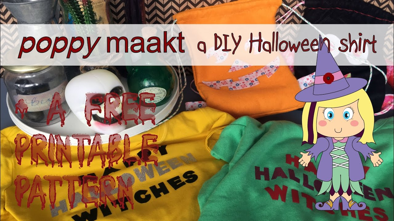 Halloween - Poppy Makes An Iron On Halloween Shirt - Free - Free Printable Halloween Iron Ons