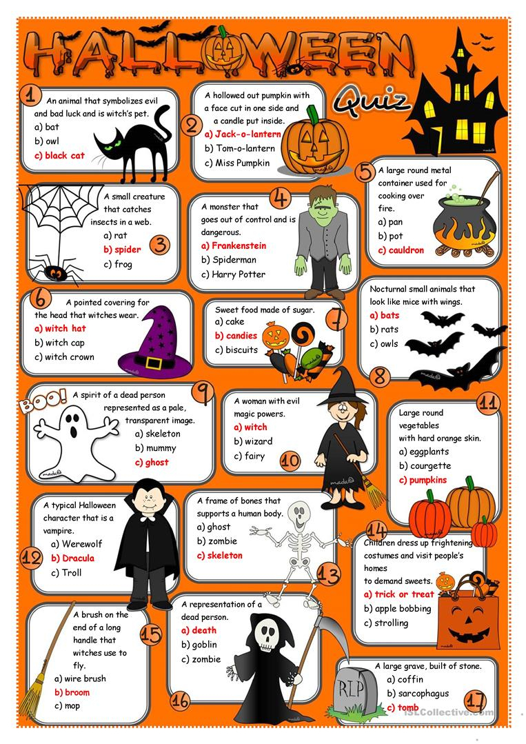 Halloween Quiz Worksheet - Free Esl Printable Worksheets Made - Halloween Trivia Questions And Answers Free Printable