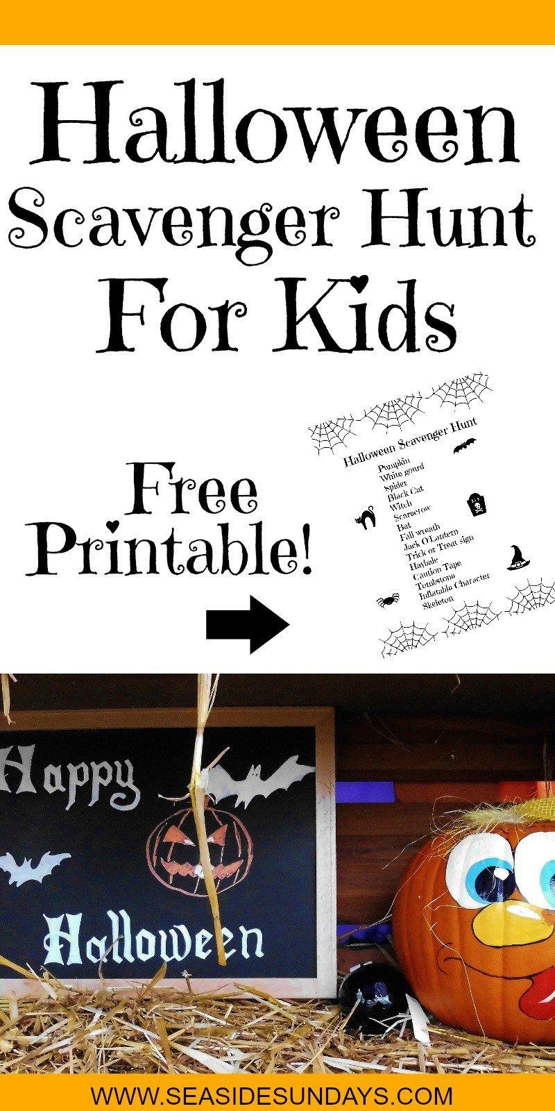Halloween Scavenger Hunt For Kids (Free Printable) | Party - Free Printable Halloween Scavenger Hunt