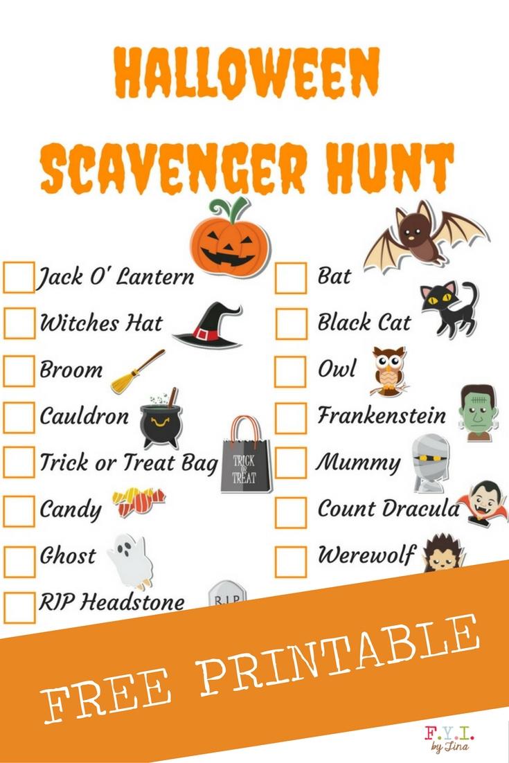 Halloween Scavenger Hunt - Free Printable • Fyitina - Free Printable Halloween Scavenger Hunt