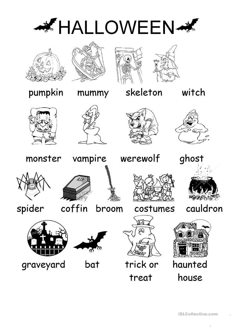 Halloween Vocabulary Printables | Halloween Arts - Free Printable French Halloween Worksheets