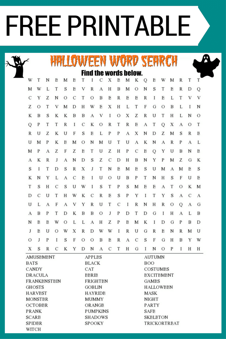 Halloween Word Search Printable Worksheet - Free Printable Halloween Word Search Puzzles