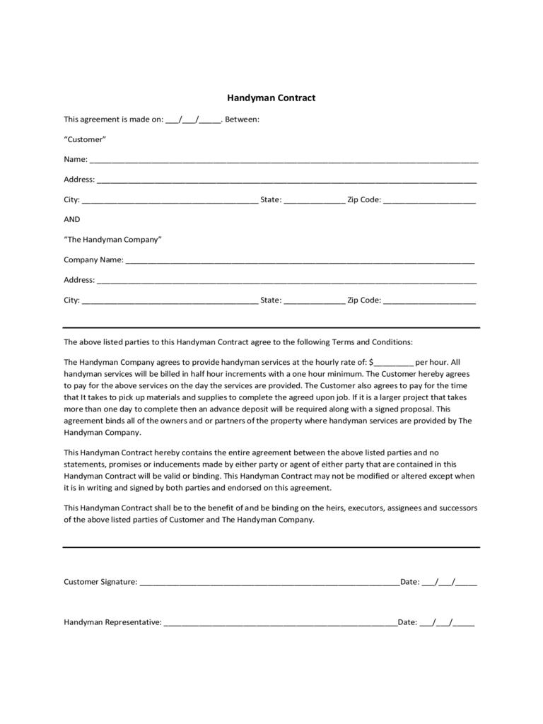 Handyman Contract Template - 1 Free Templates In Pdf, Word, Excel - Free Printable Handyman Contracts