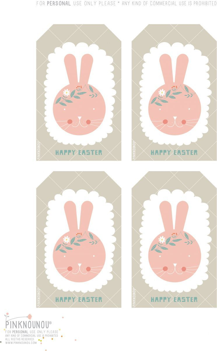 Happy Easter Free Printable Bunny Tags | Cute Printables | Pinterest - Free Printable Easter Tags