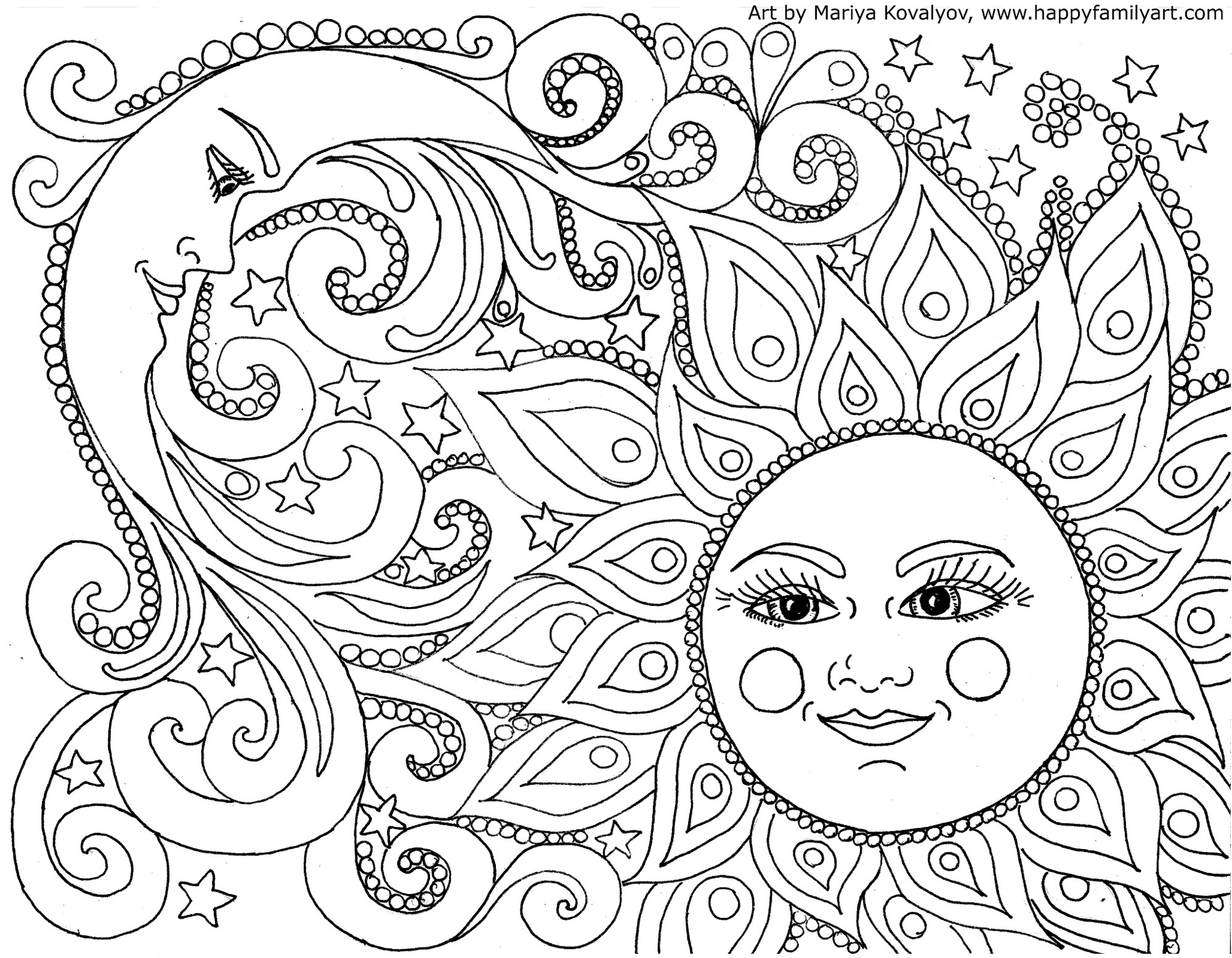 Happy Family Art - Original And Fun Coloring Pages - Free Printable Nature Coloring Pages For Adults