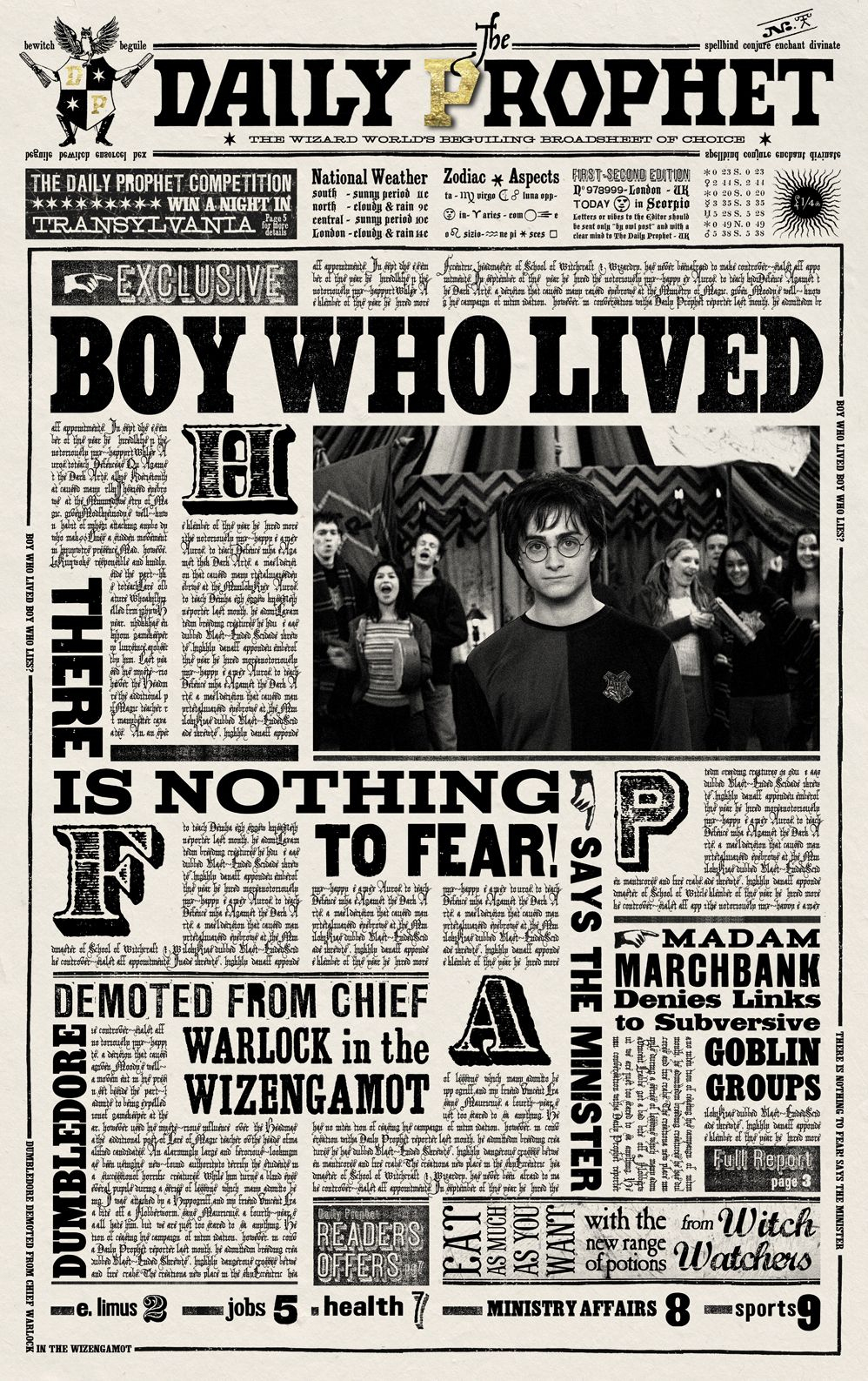 Harry Potter Daily Prophet Printable Daily Prophet | Accio Harry - Free Printable Harry Potter Posters