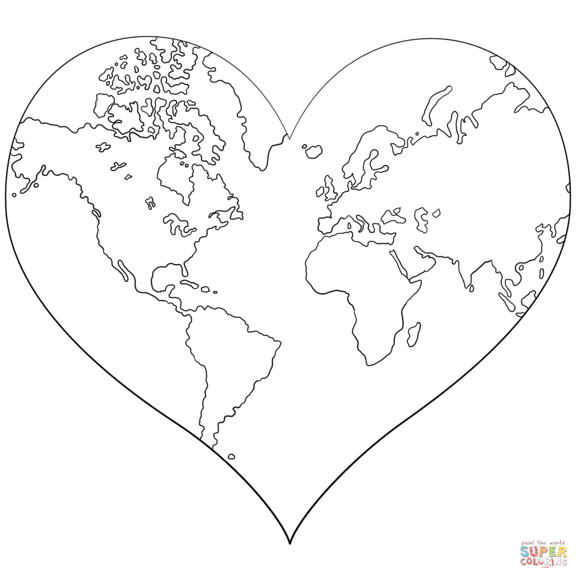 Heart Shaped Earth Coloring Page | Free Printable Coloring Pages - Earth Coloring Pages Free Printable