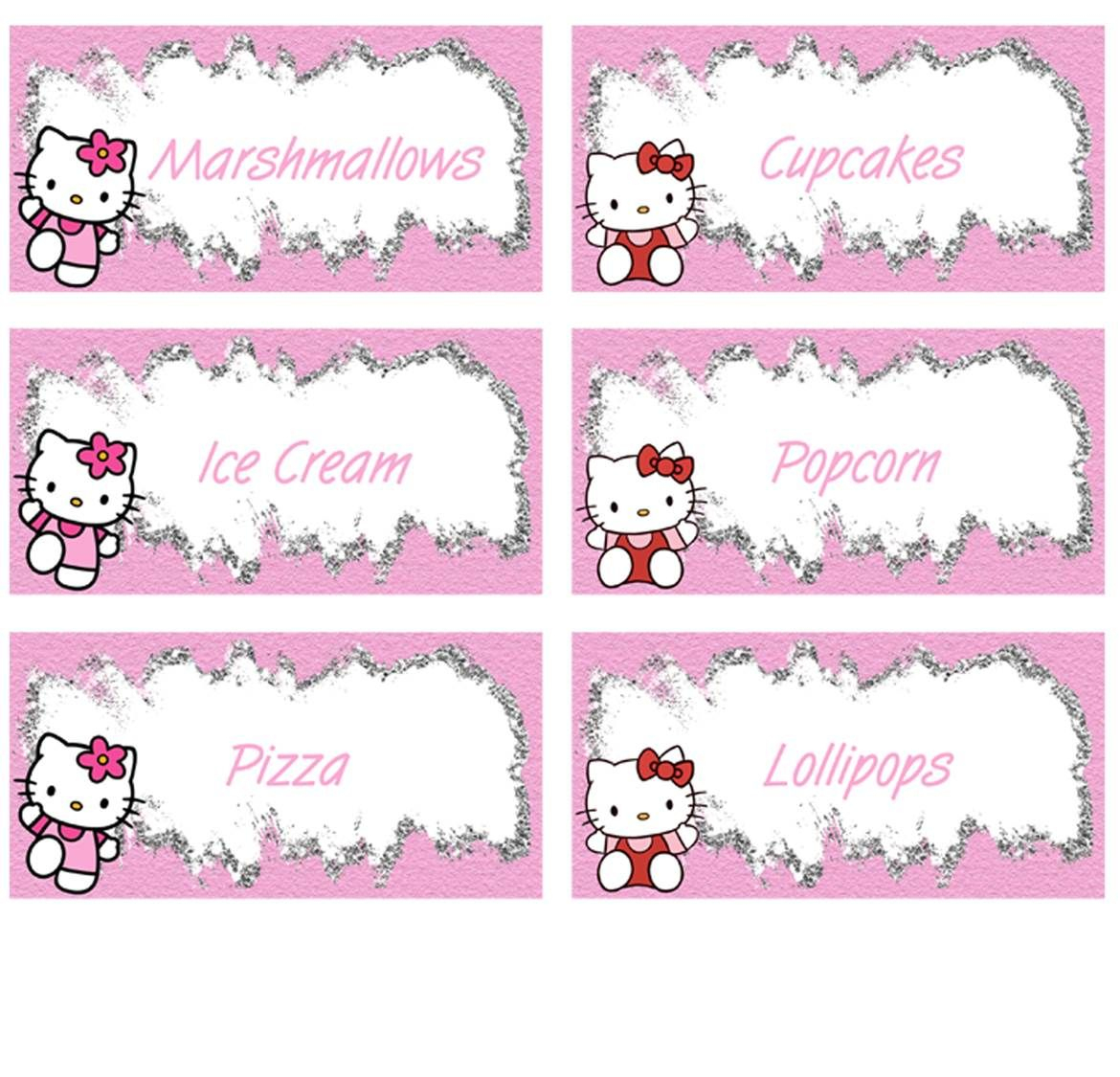 Hello Kitty Food Labels - Free Pdf Download | Birthday Party Kids - Hello Kitty Labels Printable Free