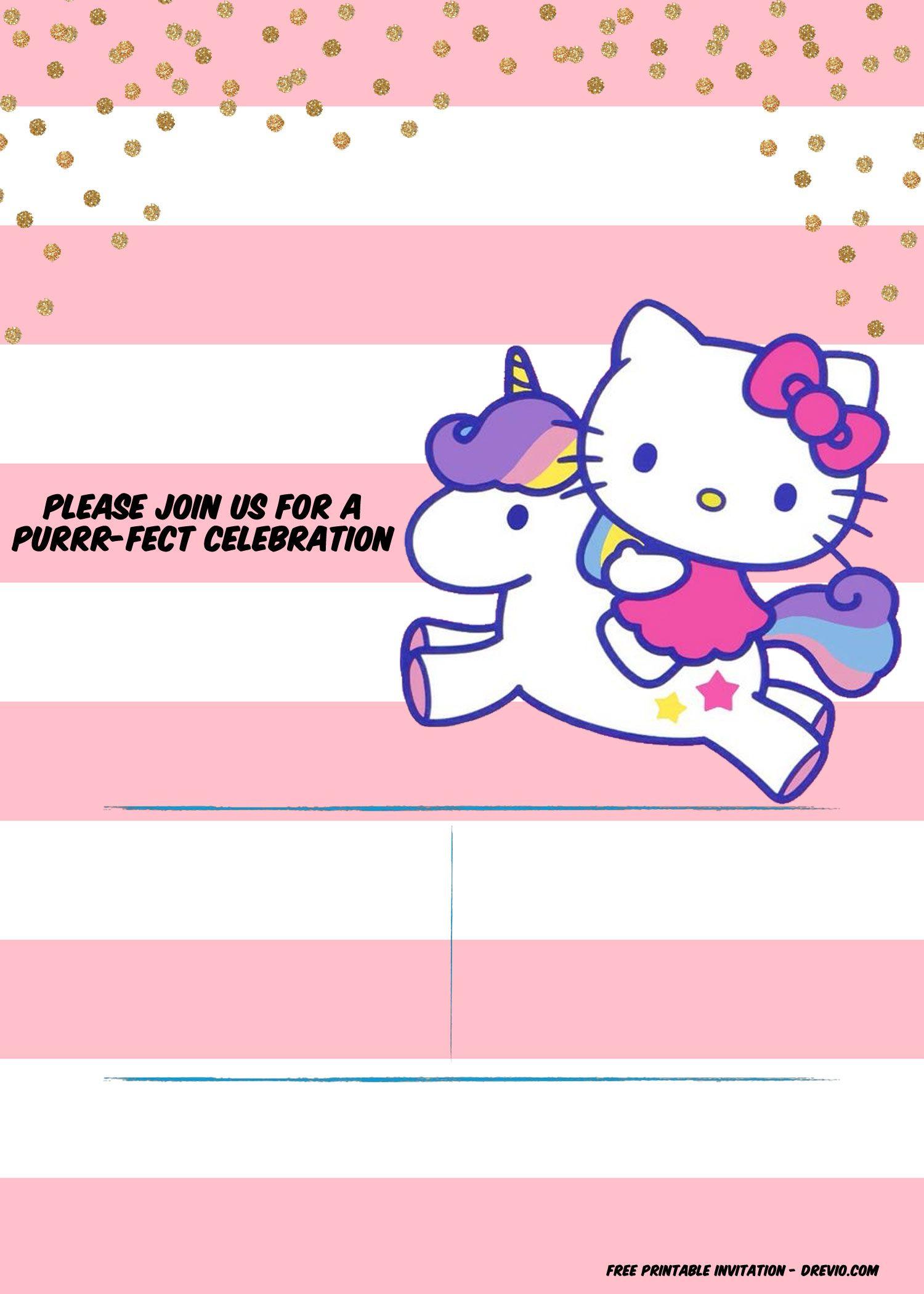 Hello Kitty Invitation Template - Portrait Mode | Free Printable - Free Printable Hello Kitty Baby Shower Invitations