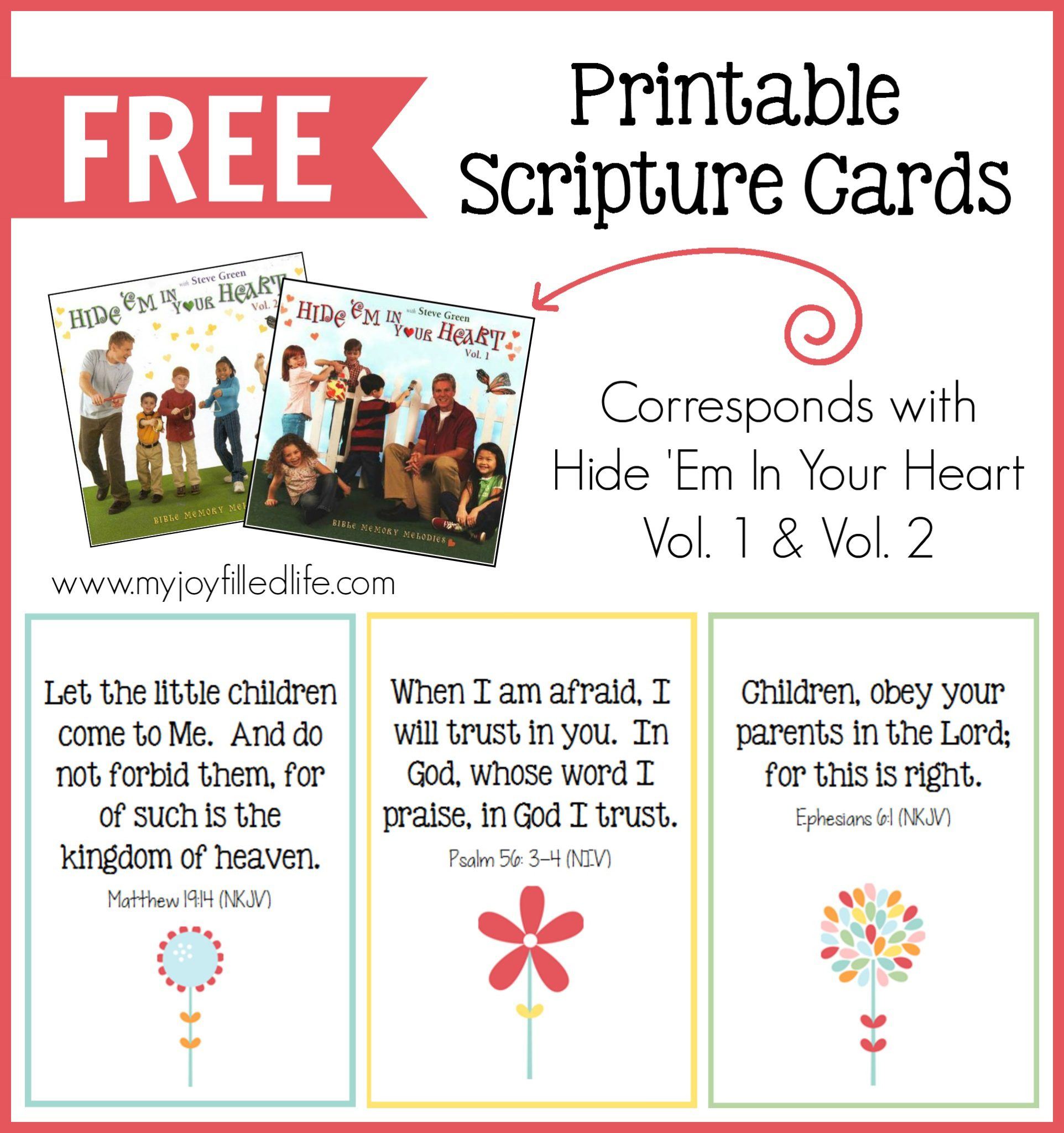 Hide 'em In Your Heart Scripture Cards {Free Printable} - My Joy - Free Printable Picture Cards