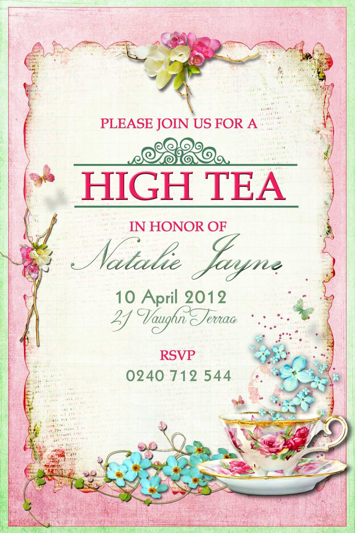 High Tea Invitation Idea | Vegan Tea Time Ⓥ In 2019 | High Tea - Free Printable Kitchen Tea Invitation Templates