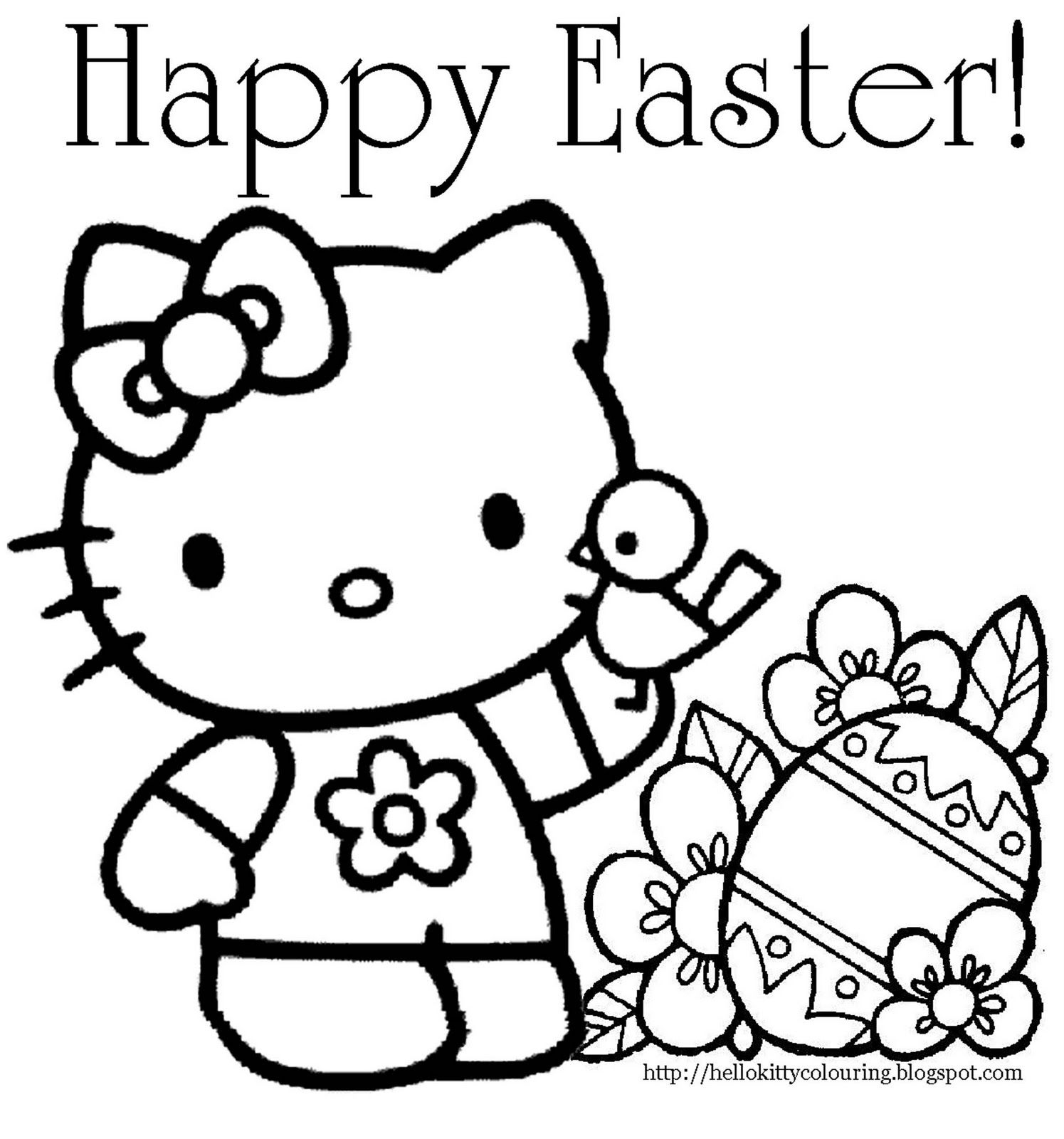 Hilla Kitte Coloriing | Hello Kitty Easter Coloring Page | Books - Free Easter Color Pages Printable