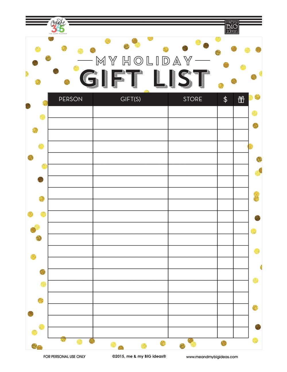 Holiday Gift List' Free Printables — Me & My Big Ideas - Free Printable Gift List