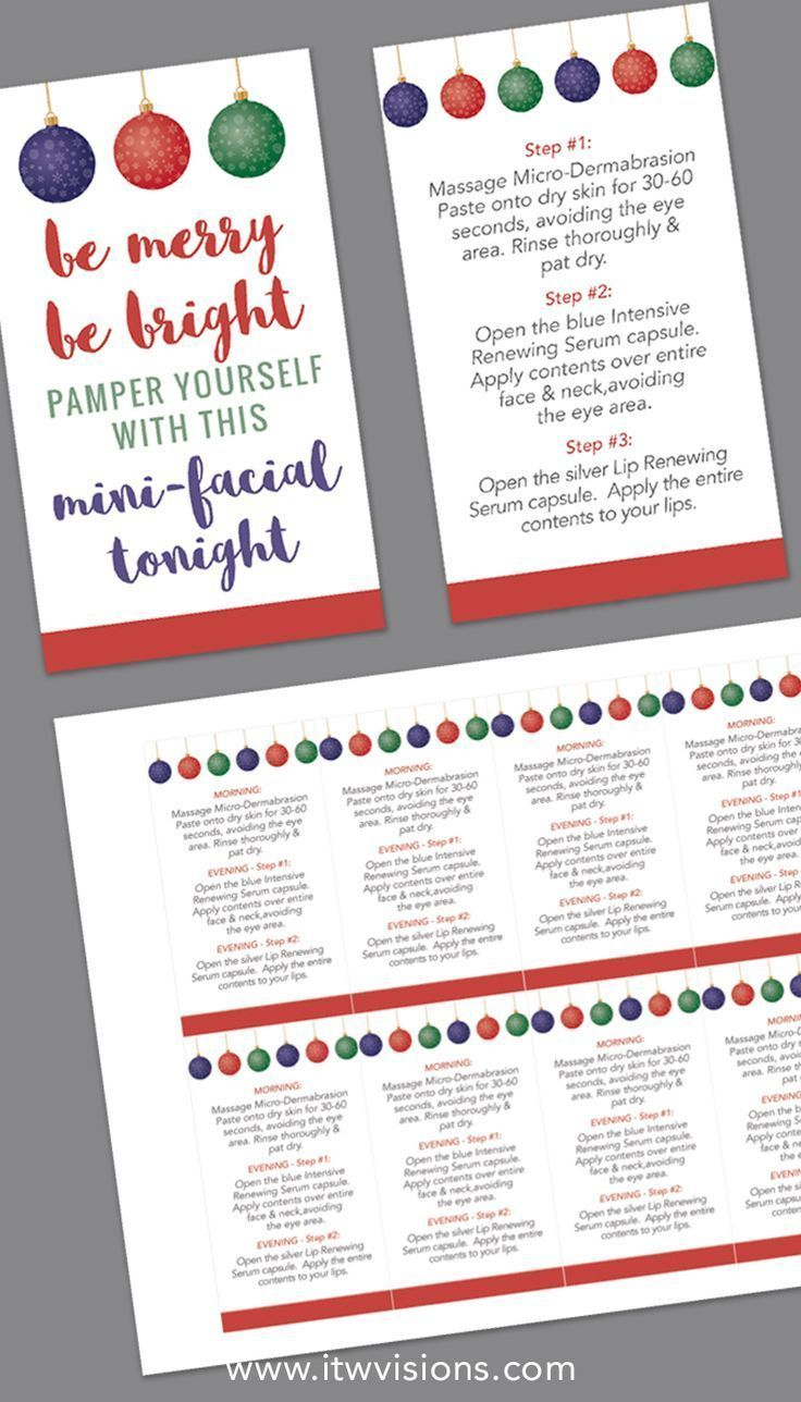 Holiday Mini-Facial Card - Instant Download | Printables | Pinterest - Rodan And Fields Mini Facial Instructions Printable Free