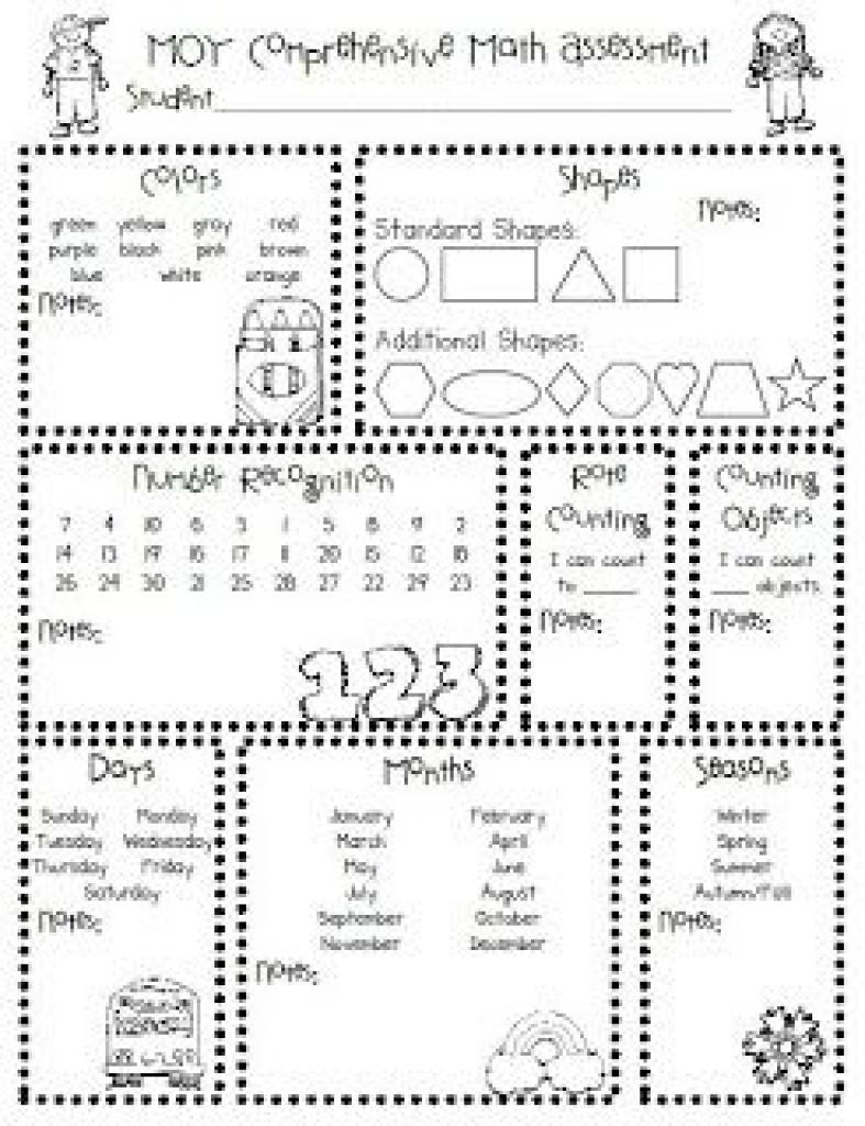 Homeschool Parent: Printable Kindergarten Assessments   School - Free Printable Informal Math Assessments