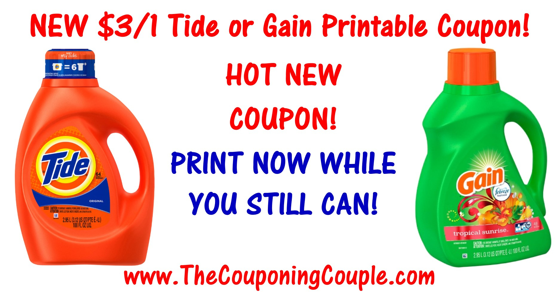 Hot New $3.00 Tide Printable Coupon Or Gain Printable Coupon ~ Print - Tide Coupons Free Printable