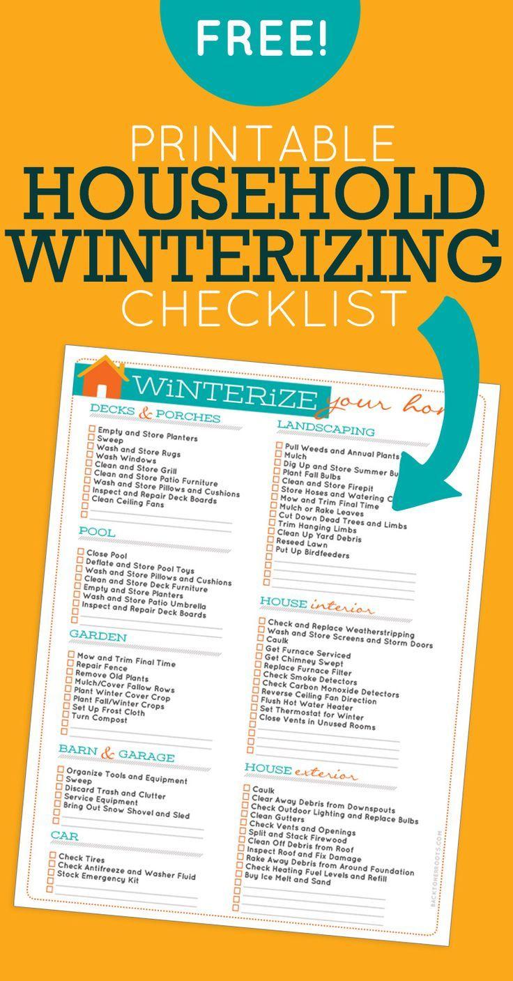 Household Winterizing Checklist | Printables | Pinterest | Home - Free Printable Winterization Stickers