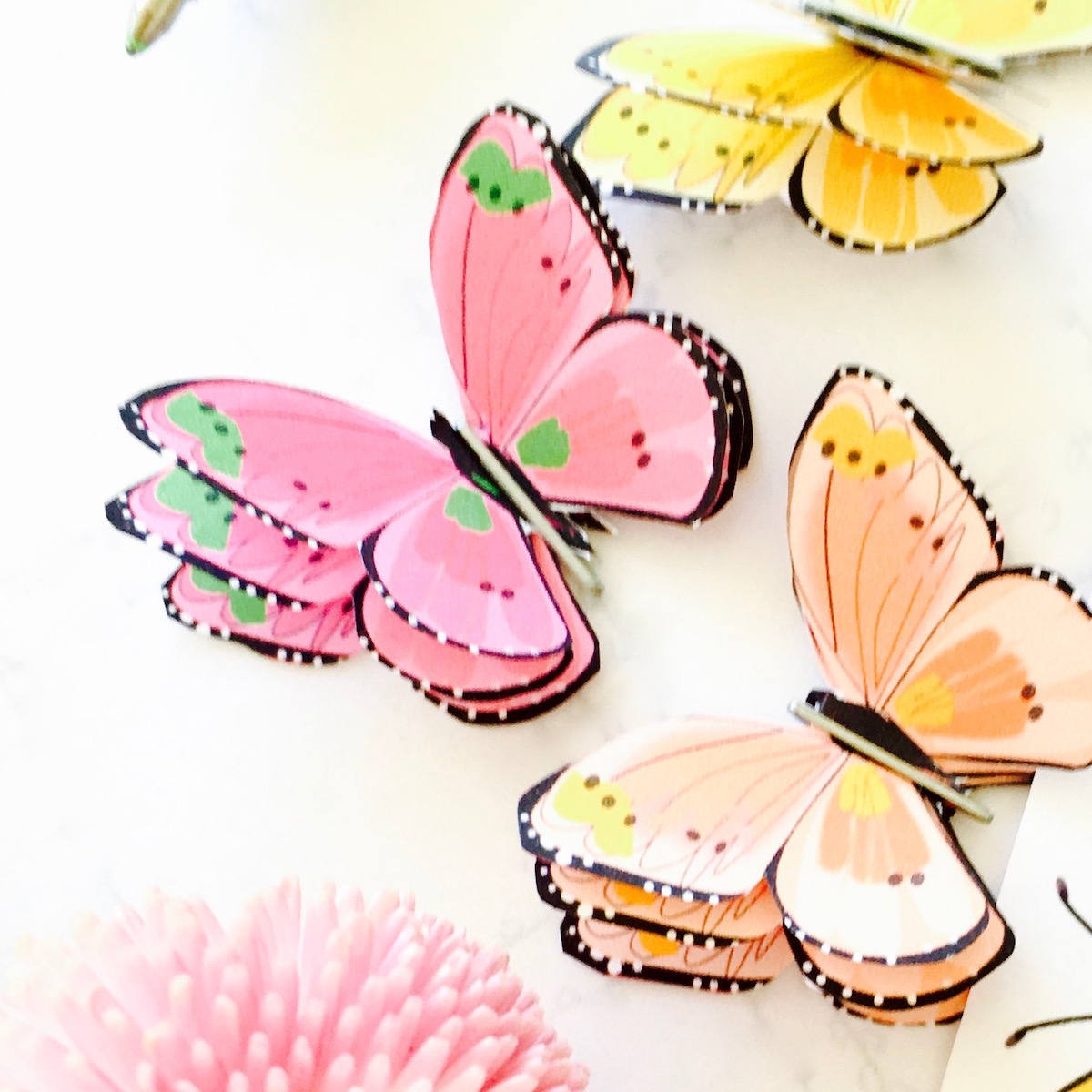 How To Make A 3D Paper Butterfly + Free Printable Butterfly Sticker - Free Printable Butterfly