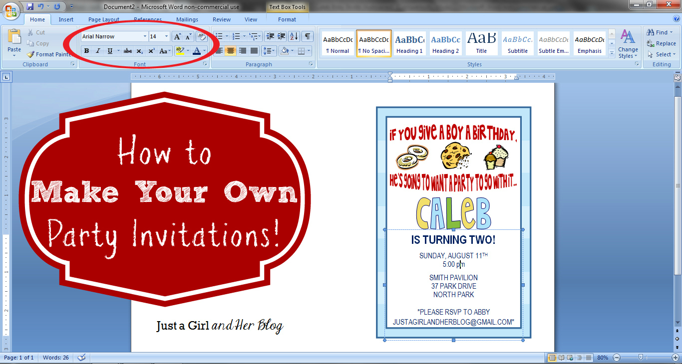 How To Make Your Own Party Invitations - Just A Girl And Her Blog - Make Your Own Printable Birthday Cards Online Free
