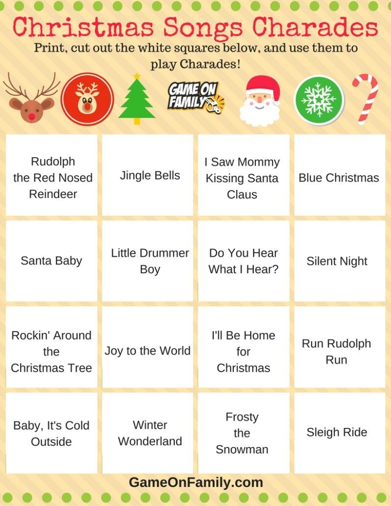 How To Play Christmas Charades: Free Printable Games! | Christmas - Free Printable Christmas Charades Cards