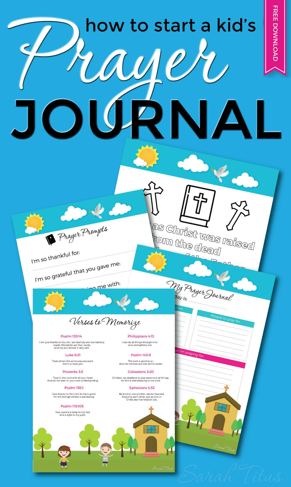 How To Start A Kid's Prayer Journal - Sarah Titus - Free Printable Prayer Journal