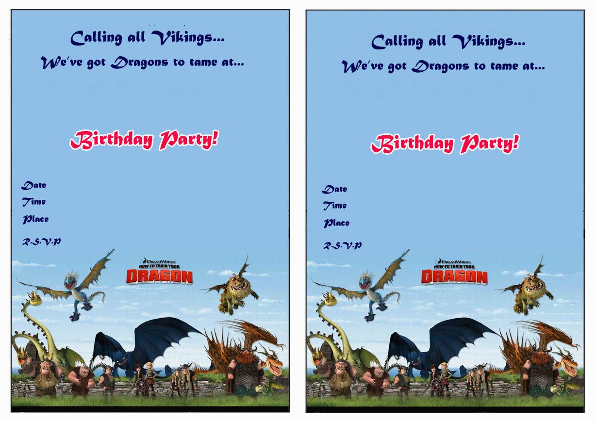 How To Train Your Dragon Party Invitations | Cimvitation - How To Train Your Dragon Birthday Invitations Printable Free