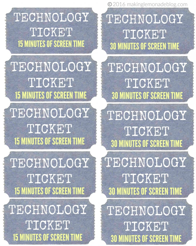 How We Reduced Screen Time With No Tears Or Tantrums! (Free - Free Printable Tickets