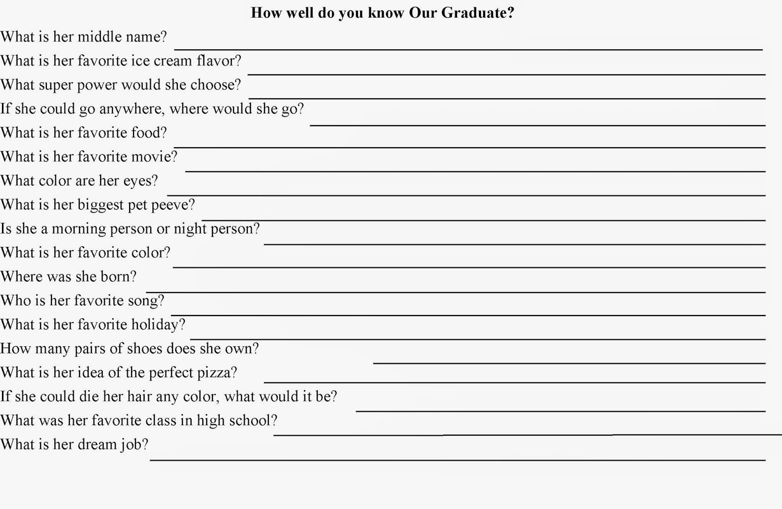 How Well Do You Know? Quiz Party Game | Someone's Turning 40 Soon - Free Printable Graduation Party Games