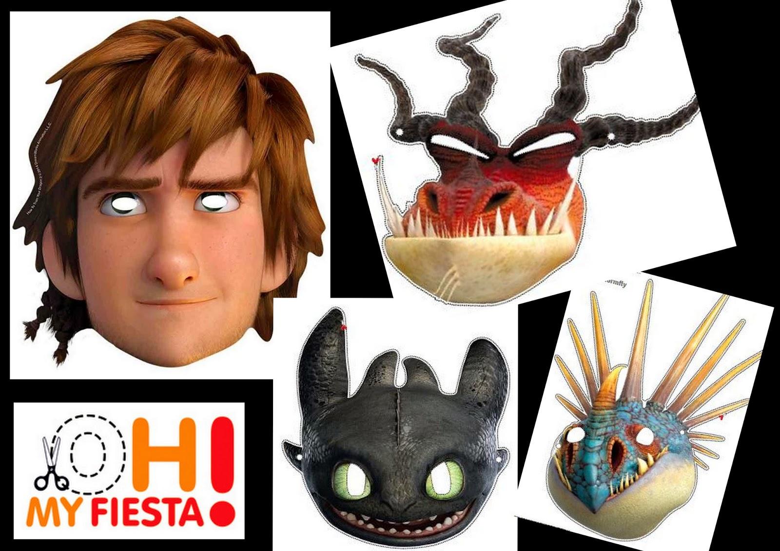 Httyd 2: Free Printable Masks.   Oh My Fiesta! In English - Dragon Mask Printable Free