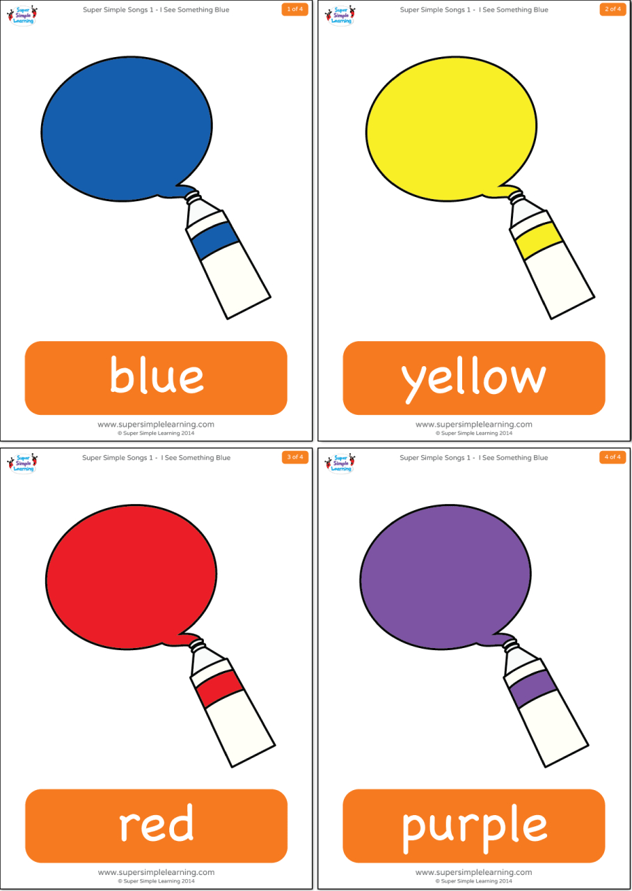 I See Something Blue Flashcards - Super Simple - Free Printable Colour Flashcards