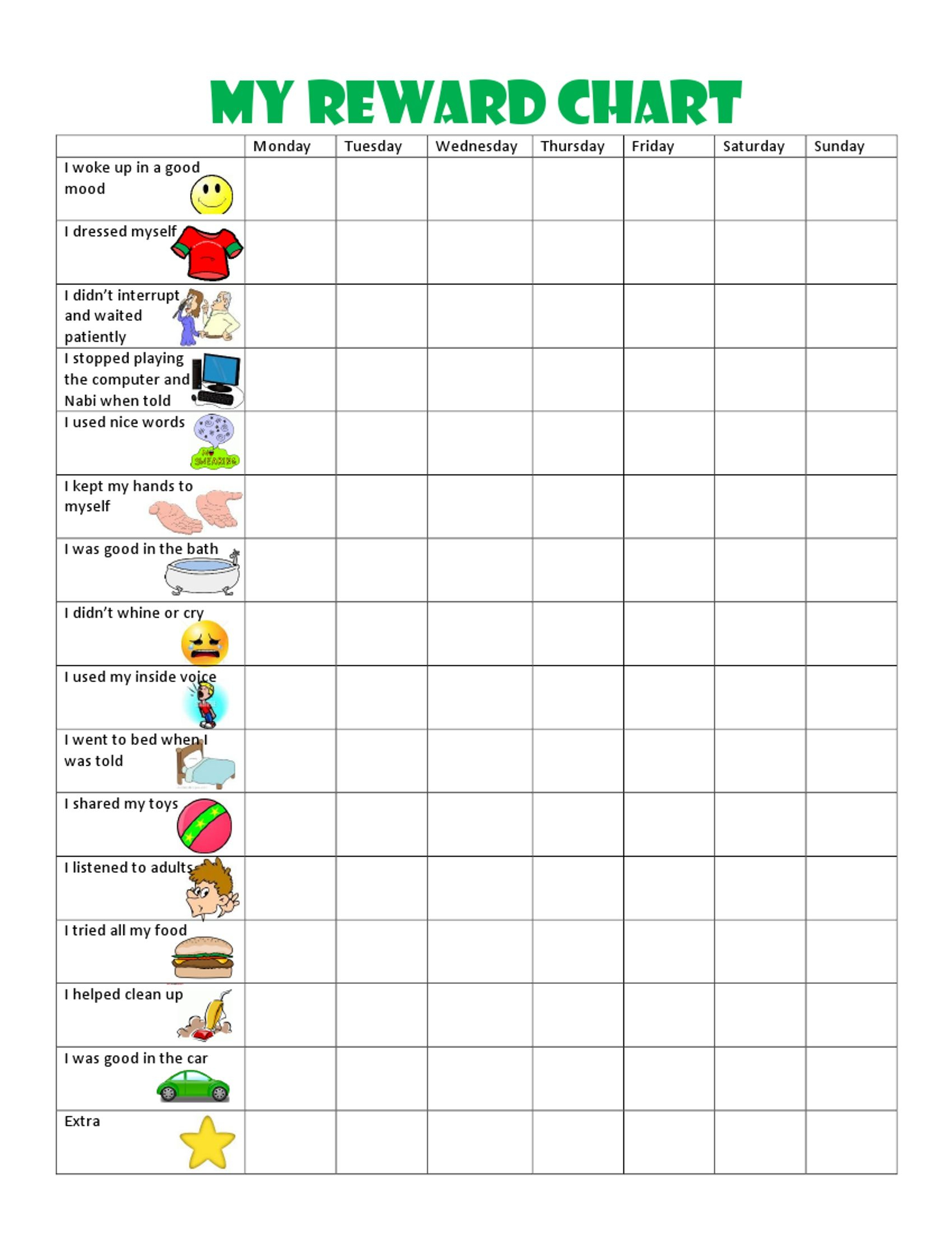Image Result For Free Printable Behavior Charts For 6 Year Olds - Free Printable Reward Charts For 2 Year Olds