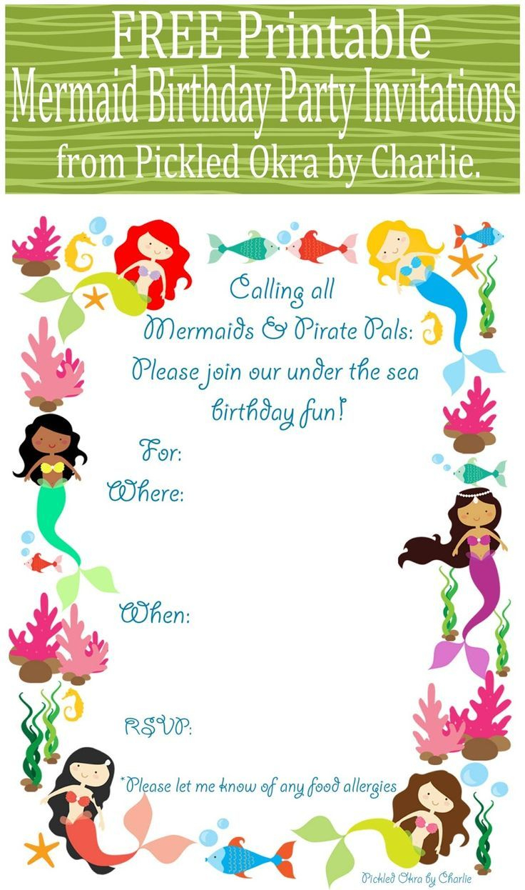 Image Result For Free Printable Mermaid Party Invitations | Kylie's - Mermaid Birthday Invitations Free Printable