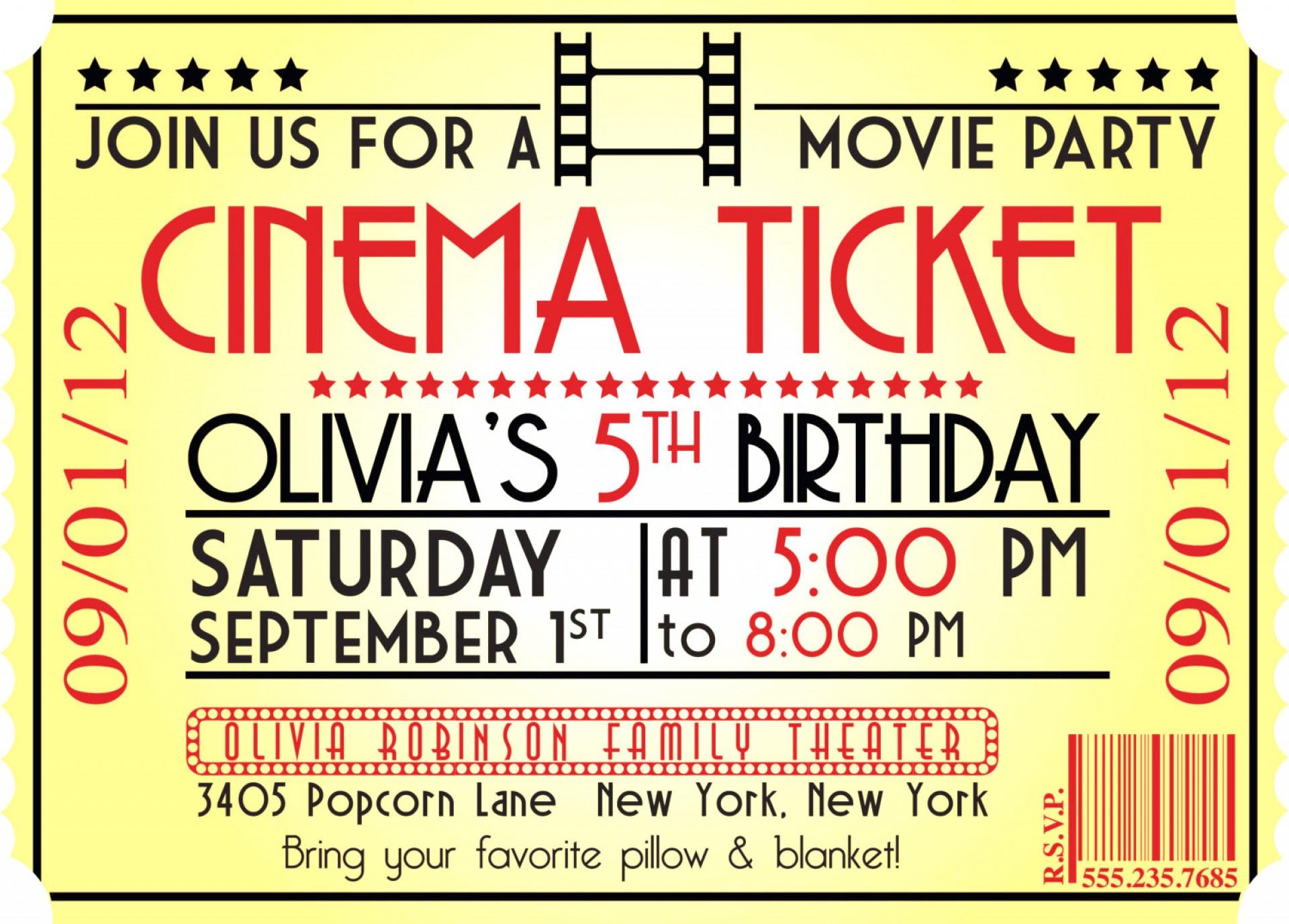 Impressive Movie Ticket Invitation Template ~ Ulyssesroom - Free Printable Movie Ticket Birthday Party Invitations