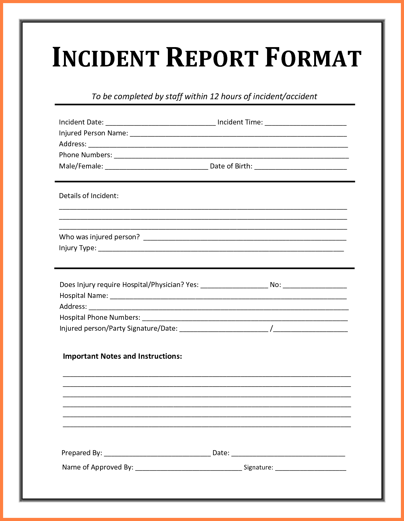 Incident Report Template - Free Incident Report Templates Smartsheet - Free Printable Incident Report Form