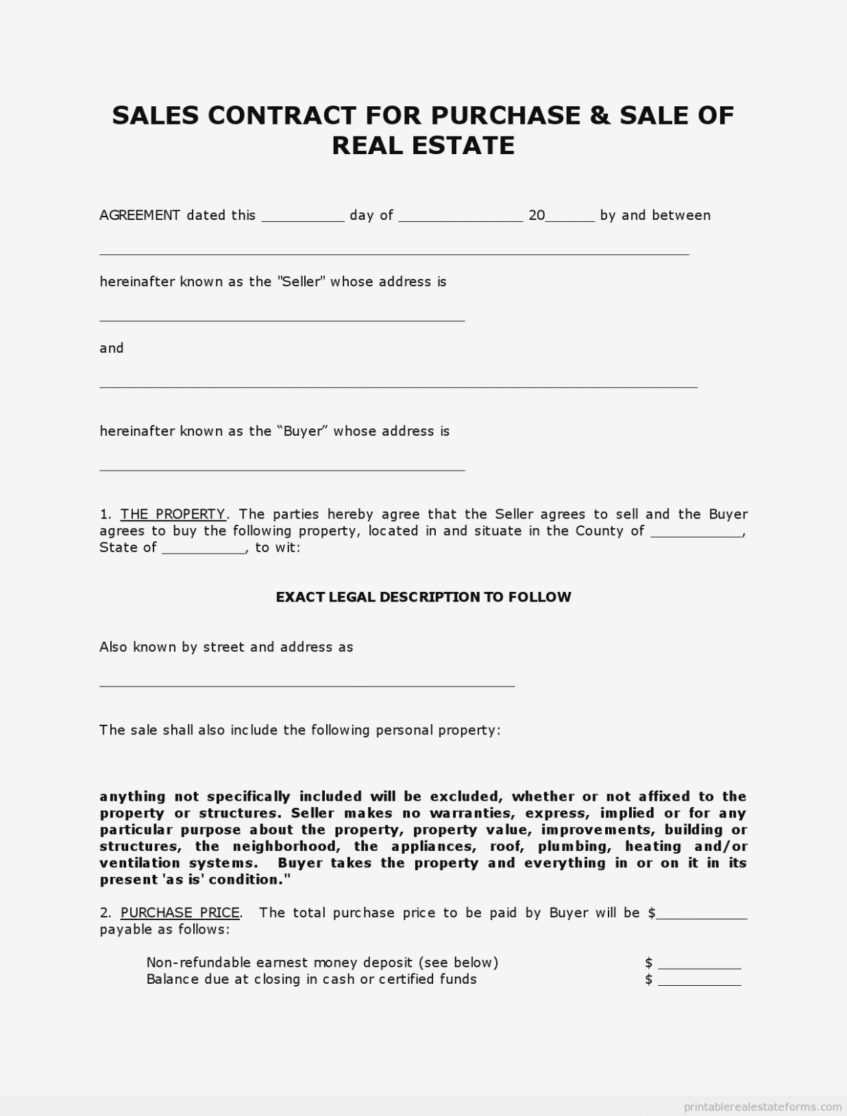 Indiana Real Estate Purchase Agreement 10 Simple Free Printable - Free Printable Real Estate Contracts
