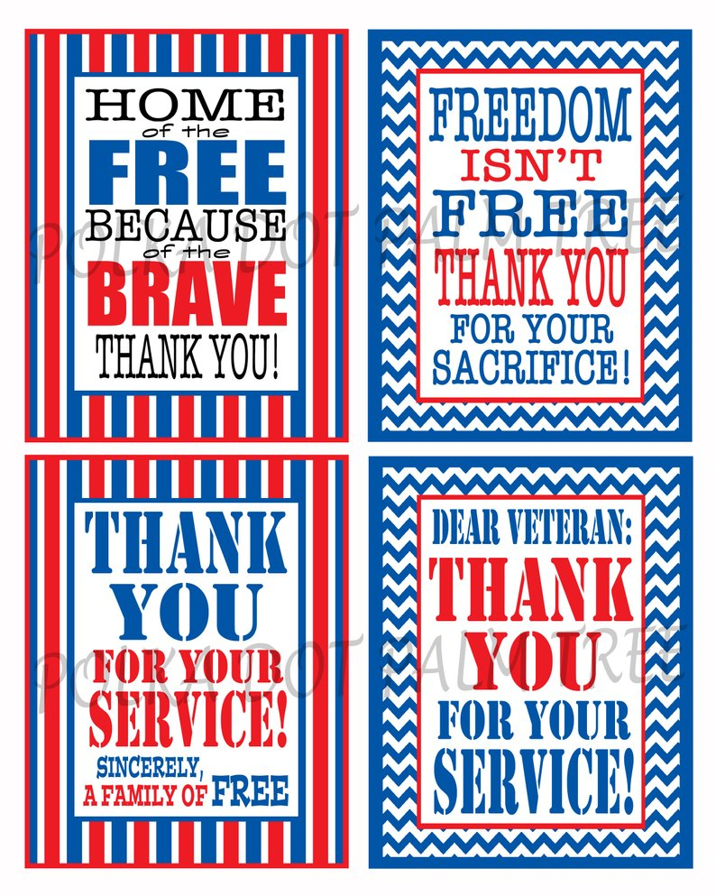 Instant Download Printable Veteran Military Patriotic Thank | Etsy - Military Thank You Cards Free Printable