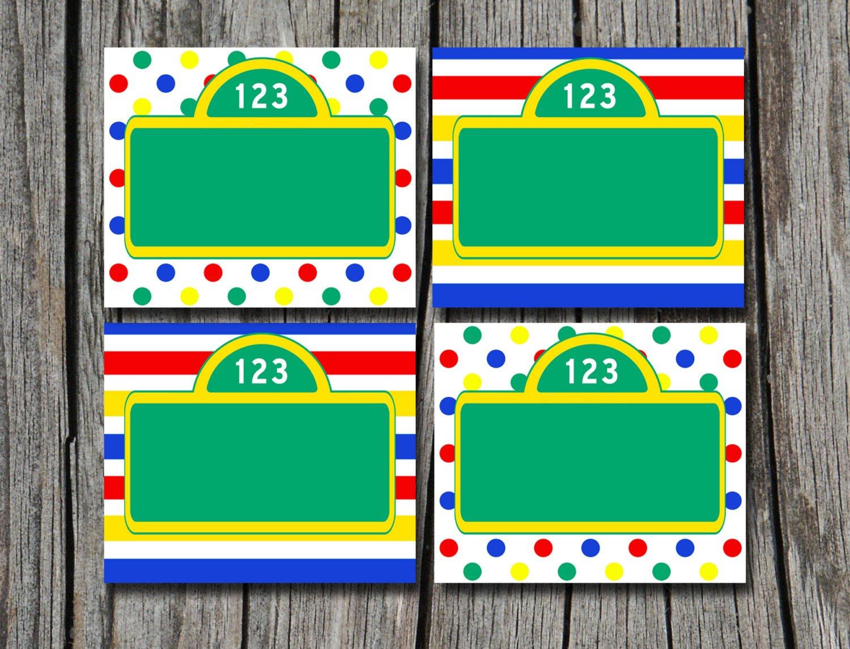 Instant Download Sesame Street Folding Food Tent Label   Etsy - Free Printable Sesame Street Food Labels