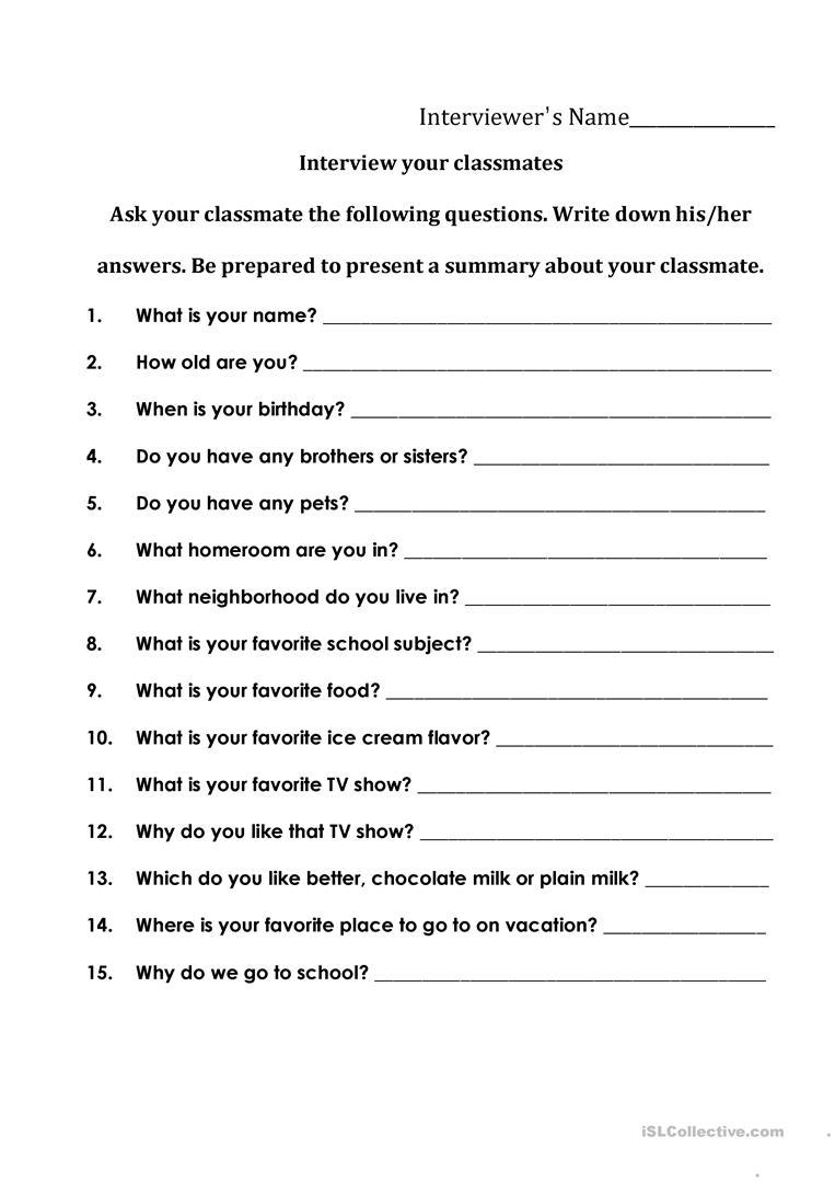 Interviewing Your Classmates Worksheet - Free Esl Printable - Free Printable Worksheets For Highschool Students