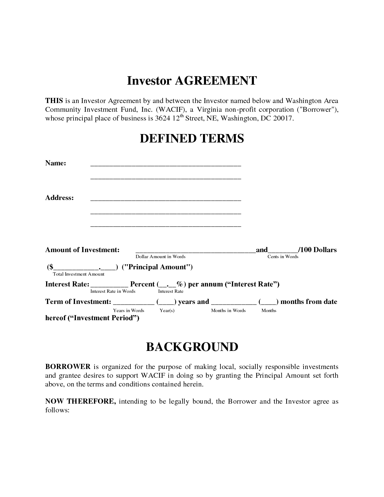 Investment Loan Agreement Template 114930 Simple Investment Contract - Free Printable Documents