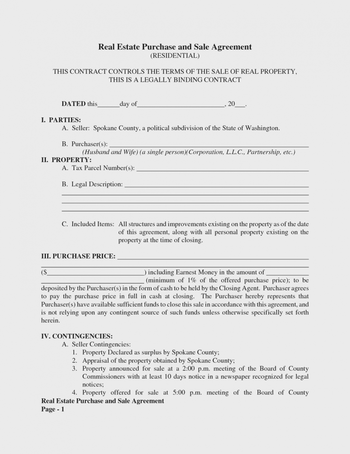 Is Free Real Estate Purchase And Sale | Form Information – Free - Free Printable Real Estate Purchase Agreement