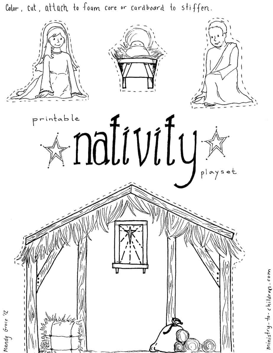 """Jesus In The Manger"""" Coloring Pages – Nativity Playset Craft - Free Printable Pictures Of Nativity Scenes"""