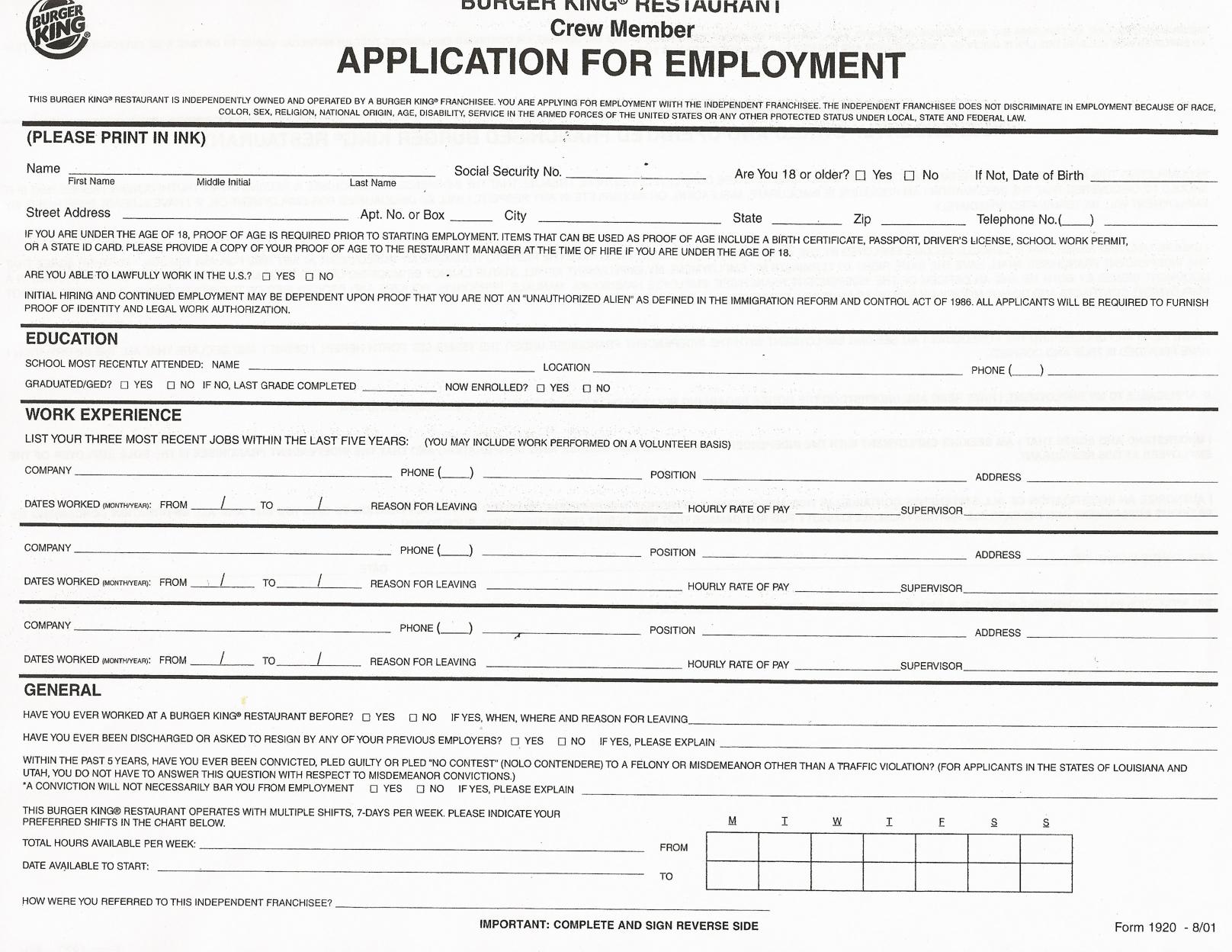 Job Application Forms To Print | Printable Job Application Forms - Free Printable Job Application Template