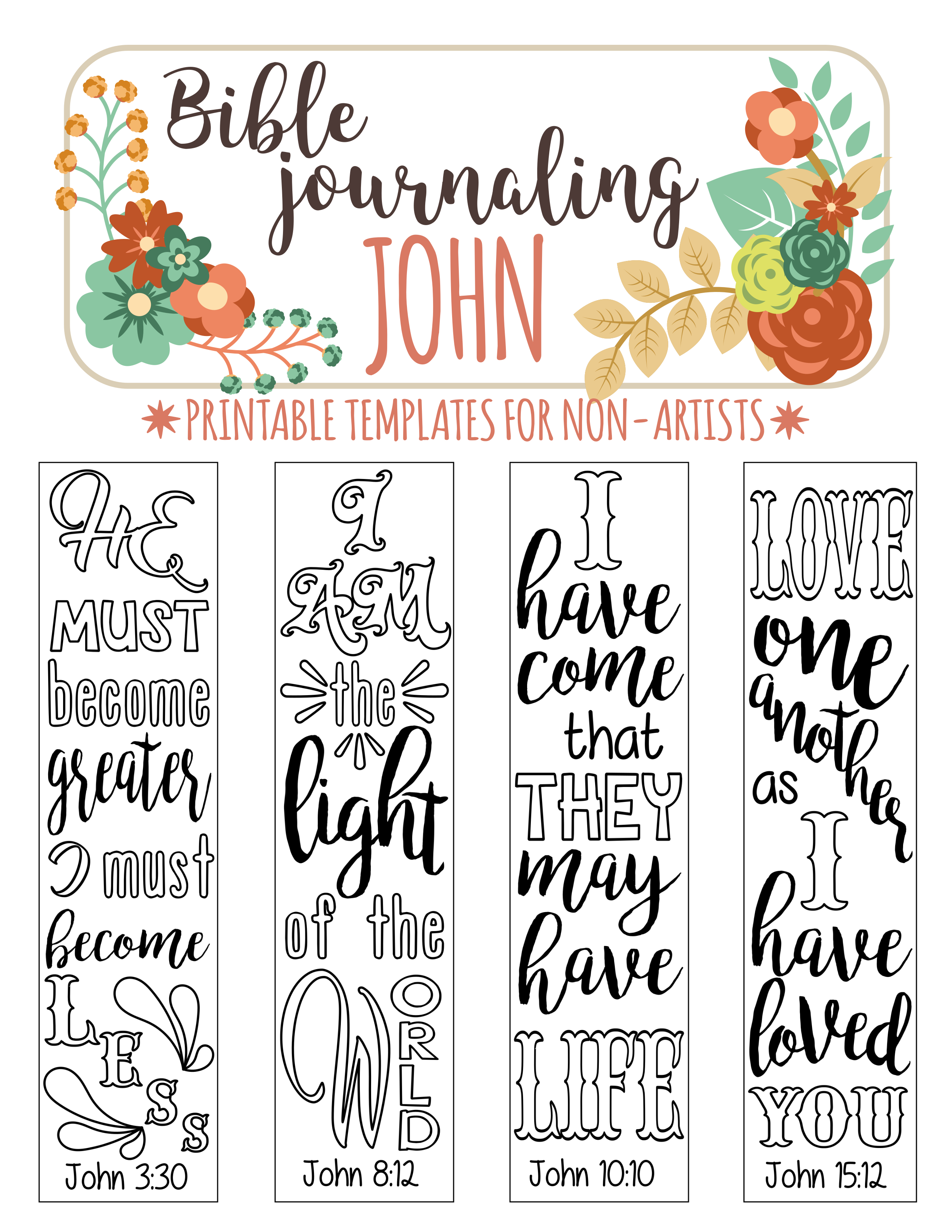 John - 4 Bible Journaling Printable Templates, Illustrated Christian - Free Printable Bible Bookmarks Templates