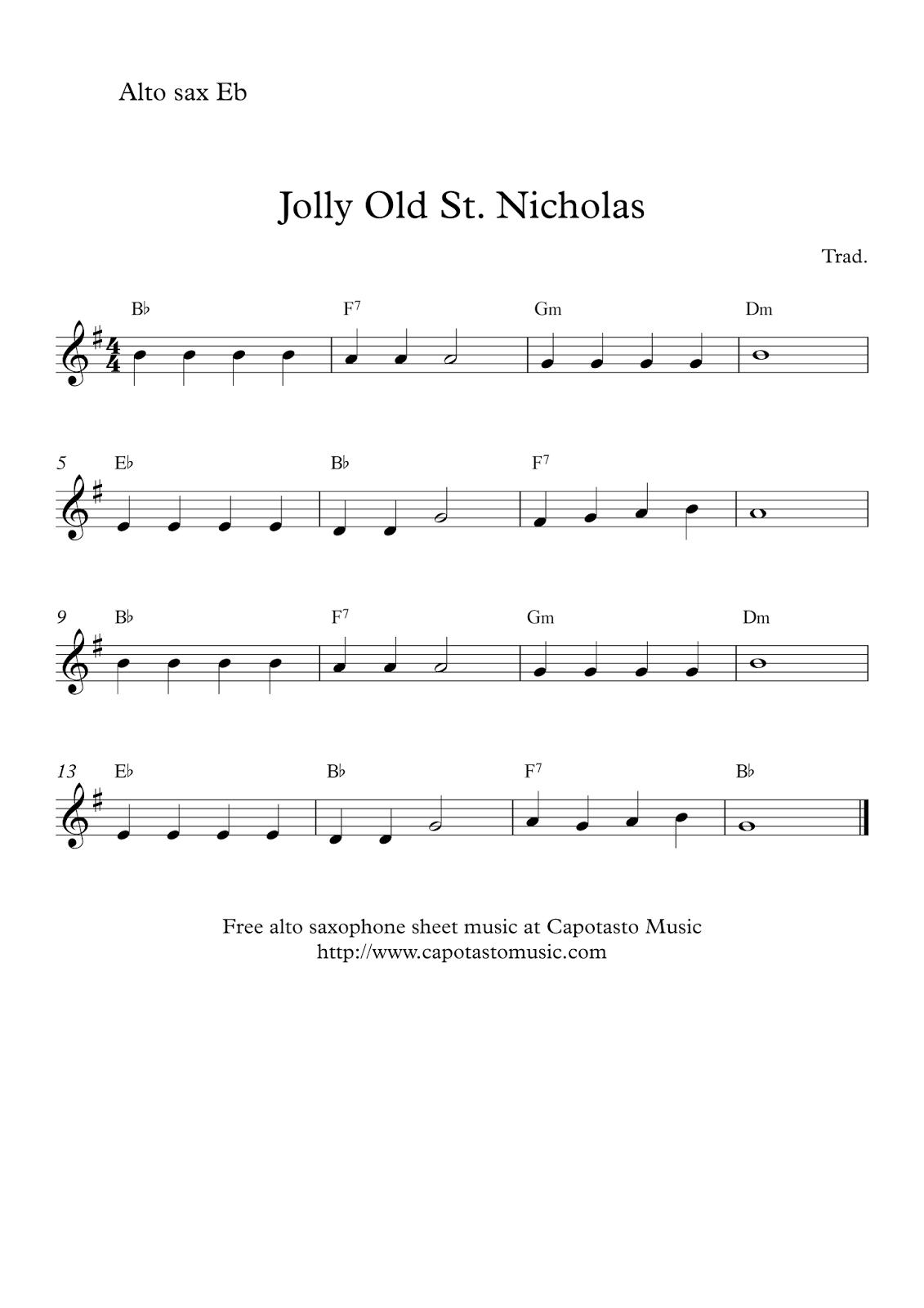 Jolly Old St. Nicholas | Free Christmas Alto Saxophone Sheet Music - Free Printable Christmas Sheet Music For Alto Saxophone