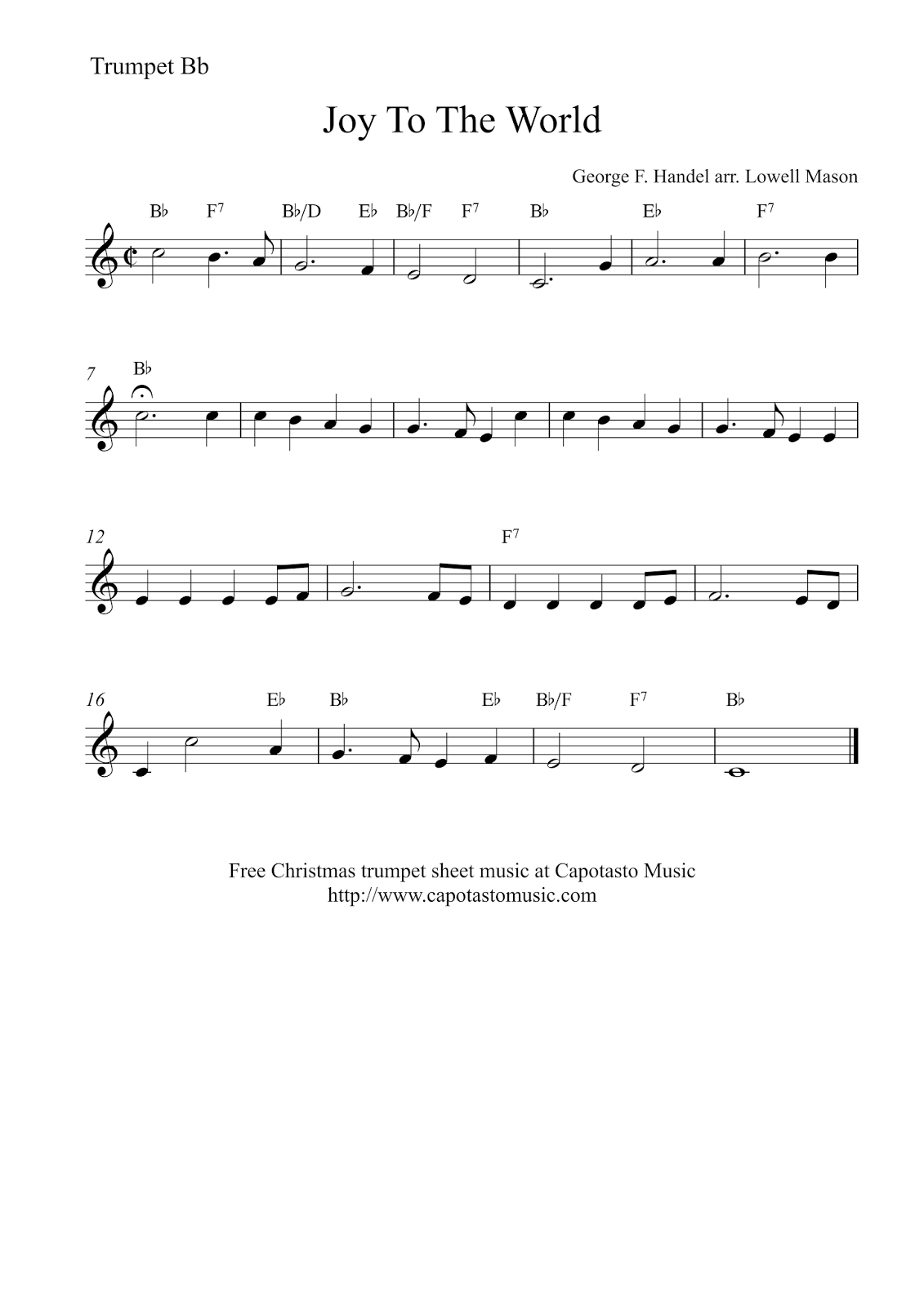 Joy To The World | Free Christmas Trumpet Sheet Music - Free Printable Sheet Music For Trumpet