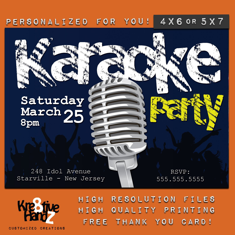 Karaoke Party Invitation Personalized Printable Karaoke Theme   Etsy - Free Printable Karaoke Party Invitations