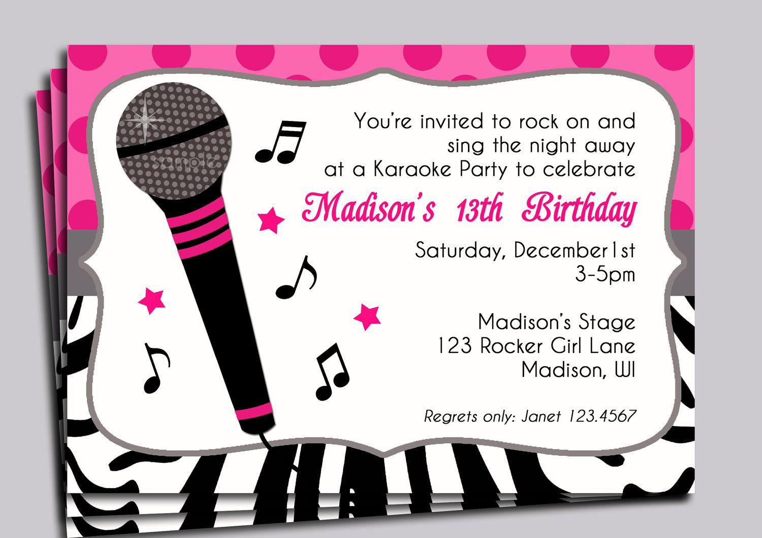 Karaoke Party Invitation Printable - Sing, Microphone, Rock Star - Free Printable Karaoke Party Invitations