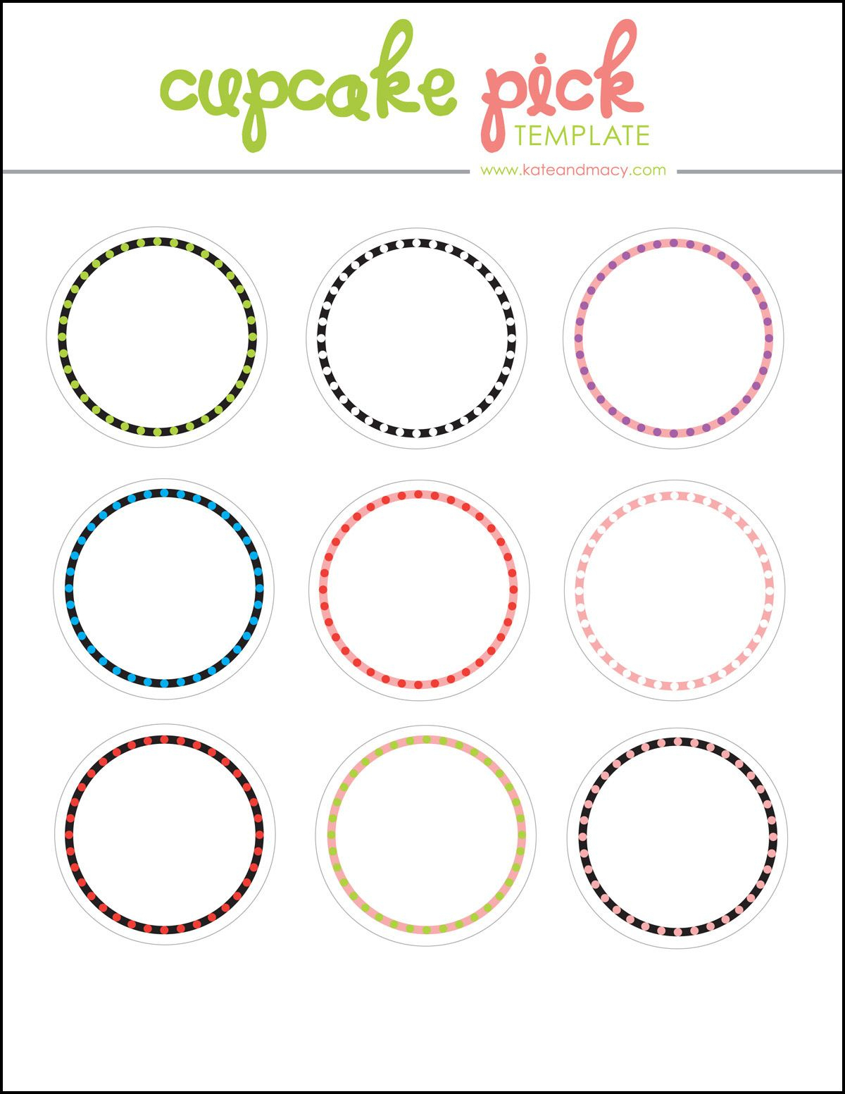 Kate: Free Digital Cupcake Pick Topper Template | Printables - Free Printable Cupcake Toppers