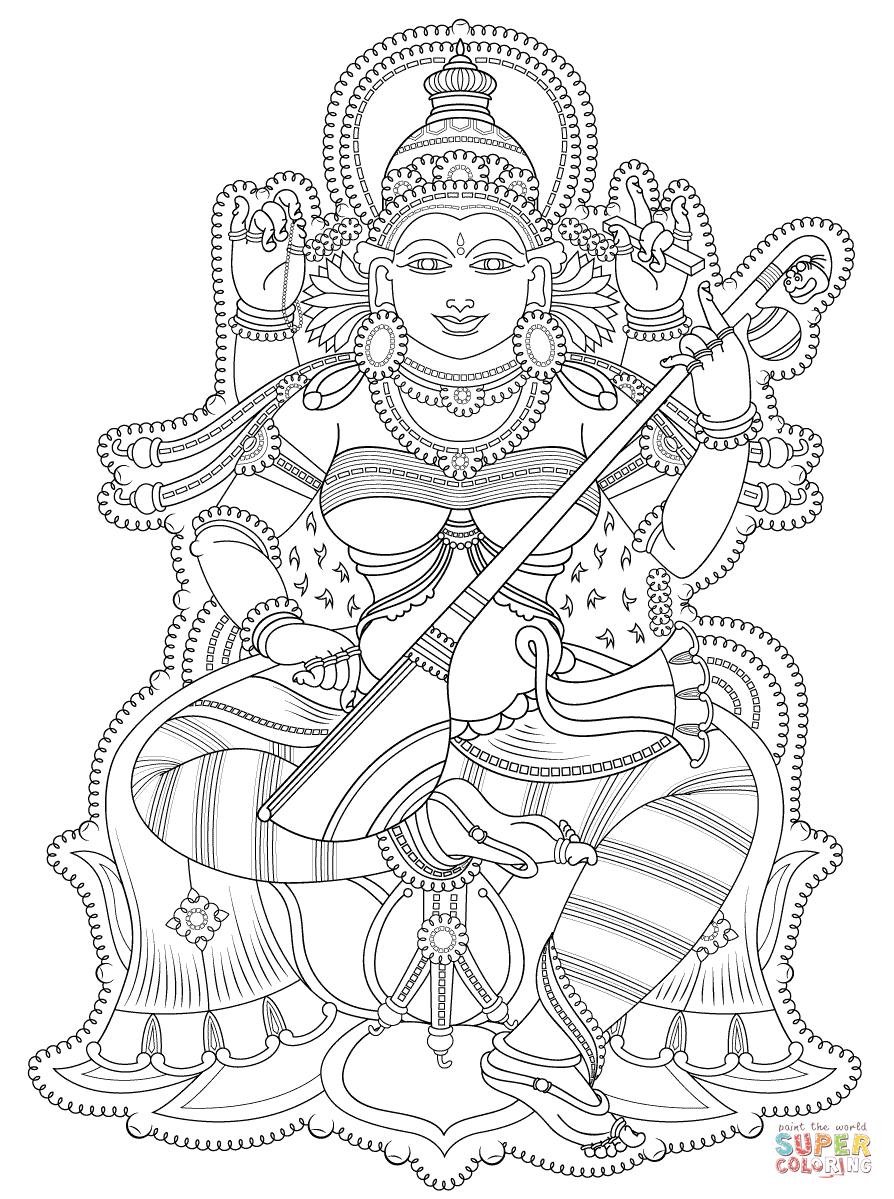 Kerala Mural Coloring Page | Free Printable Coloring Pages - Free Printable Murals