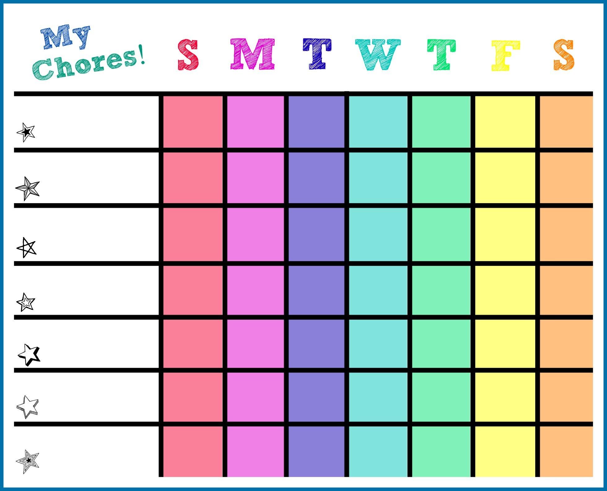 Kids Chore List Template. Printable. Daily Chore List Template - Free Editable Printable Chore Charts